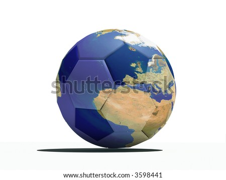 football close-up ball with earth texture(3Dimage)