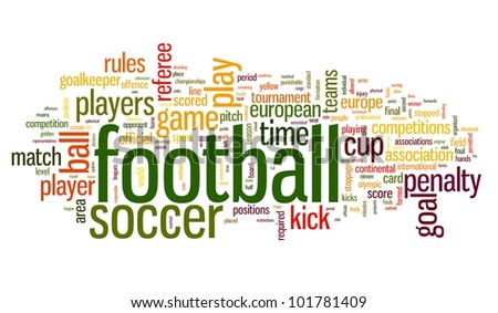 Football concept in word tag cloud on white background