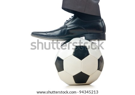 Football concept with businessman on white