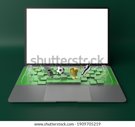 football concept with white screen laptop template mockup. 3d illustration. football balls football field isometric in a football stadium mockup. sport online application. sport live streaming.
