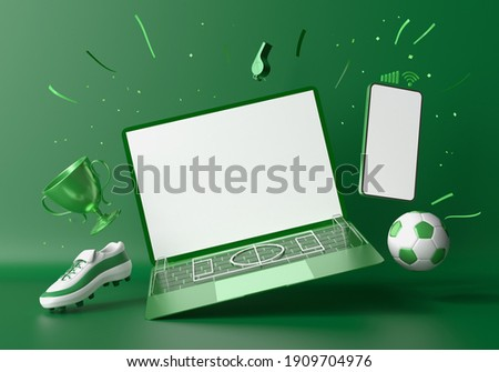 football concept with white screen smartphone and laptop template mockup. 3d illustration. football balls football field isometric in a football stadium. sport online application. sport live streaming