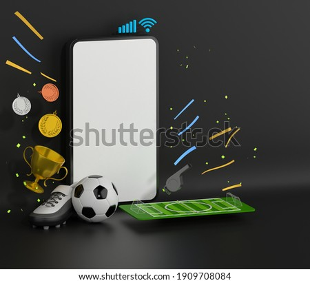 football concept with white screen smartphone template mockup. 3d illustration. football balls football field isometric in a football stadium mockup. sport online application. sport live streaming.