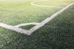 Football corner, line a football field , soccer corner , soccer field