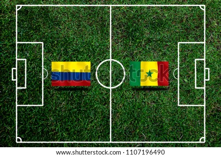 Football Cup competition between the national Colombia and national Senegal. #1107196490