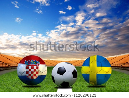 Football Cup competition between the national Croatian and national Sweden. #1128298121