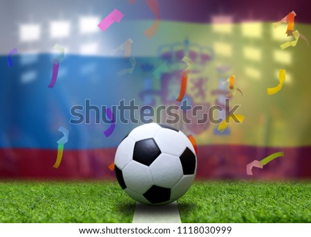 Football Cup competition between the national Russian and national Spainl.  #1118030999