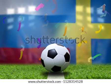 Football Cup competition between the national Russian  and national Sweden. #1128314528