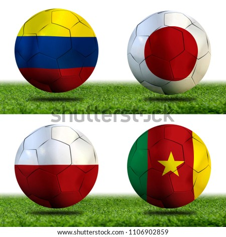 Football Cup competition Group H between the national Colombia, national Japan, national Poland and national Senegal. #1106902859