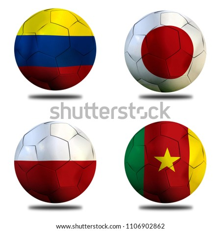 Football Cup competition Group H between the national Colombia, national Japan, national Poland and national Senegal. #1106902862