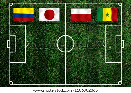 Football Cup competition Group H between the national Colombia, national Japan, national Poland and national Senegal. #1106902865