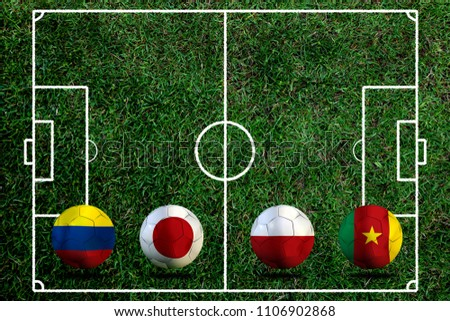 Football Cup competition Group H between the national Colombia, national Japan, national Poland and national Senegal. #1106902868