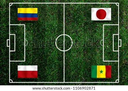 Football Cup competition Group H between the national Colombia, national Japan, national Poland and national Senegal. #1106902871