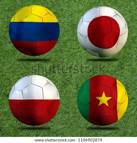 Football Cup competition Group H between the national Colombia, national Japan, national Poland and national Senegal. #1106902874