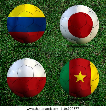 Football Cup competition Group H between the national Colombia, national Japan, national Poland and national Senegal. #1106902877