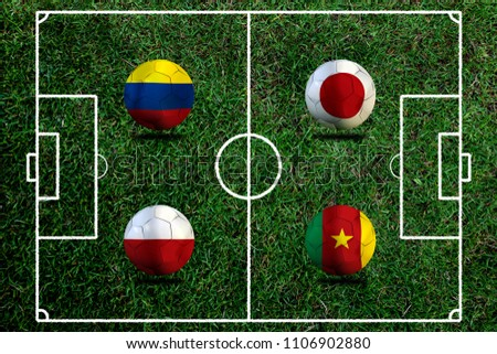 Football Cup competition Group H between the national Colombia, national Japan, national Poland and national Senegal. #1106902880