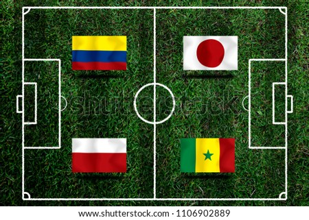 Football Cup competition Group H between the national Colombia, national Japan, national Poland and national Senegal. #1106902889
