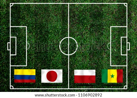 Football Cup competition Group H between the national Colombia, national Japan, national Poland and national Senegal. #1106902892