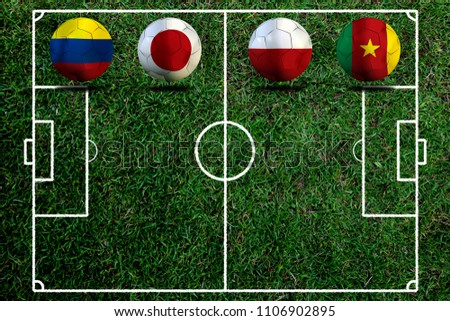 Football Cup competition Group H between the national Colombia, national Japan, national Poland and national Senegal. #1106902895