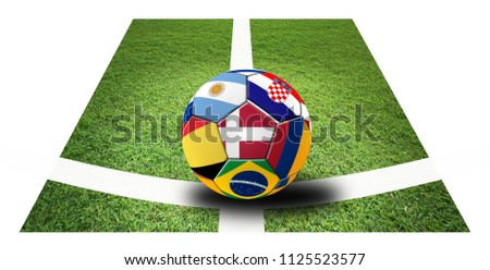 Football 2018, 3D illustration of mixed flag on one ball. #1125523577