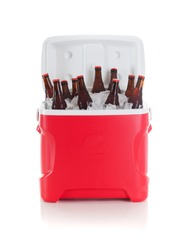 Football: Drink Cooler Full Of Beer Bottles Ready For Party