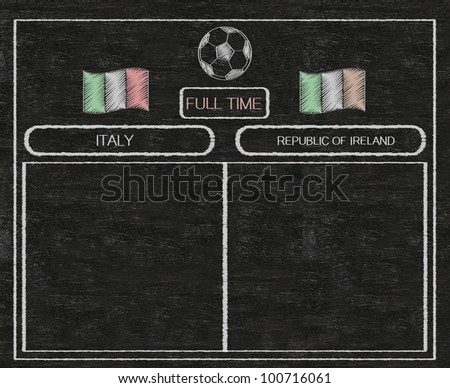 football euro 2012 scoreboard italy and ireland with nations flag written on blackboard background high resolution, easy to use