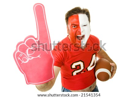 Football fan shouting and waving a Number One foam finger.  Isolated on white.