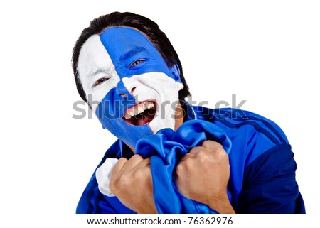 Football fan with a blue and white flag painted on his face screaming