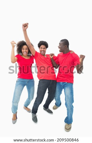 Football fans in red cheering together on white background