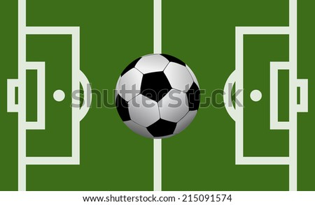 football field illustration with a soccer ball.