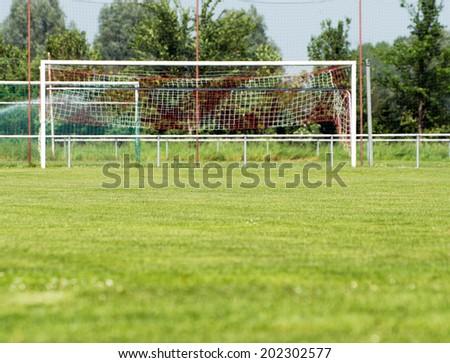 Football field with football goal / football field