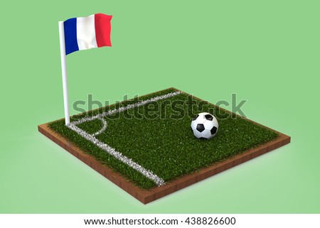 Football Field with french flag / Sports Background 3D Rendering #438826600