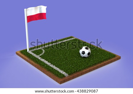 Football Field with polish flag / Sports Background 3D Rendering #438829087