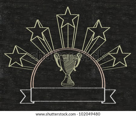 football five stars cup reward prize on vintage banner written on blackboard background high resolution, easy to use