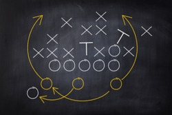 Football game plan on blackboard with white chalk. Strategy concept of tactic board