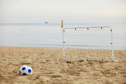 football gate and ball, beach soccer goal