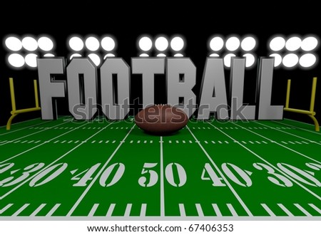 Football graphic/Digitally rendered scene with ball and lights