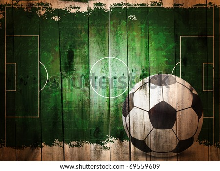 Football grunge background. Digital graffiti on a wooden fence