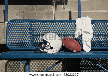 Football Helmet on a bench