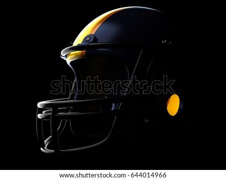 Football helmet on black background. 3d illustration
