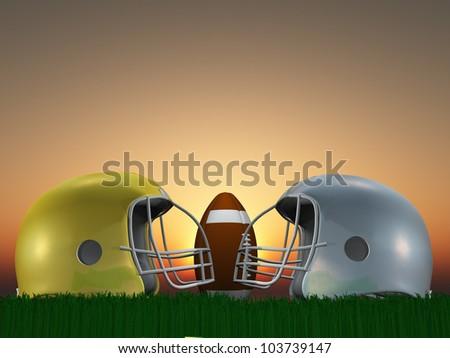 Football Helmets facing each other and football