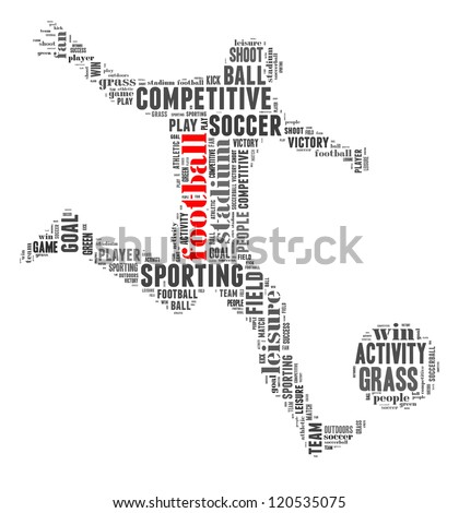 Football info-text graphic and arrangement concept on white background (word cloud)