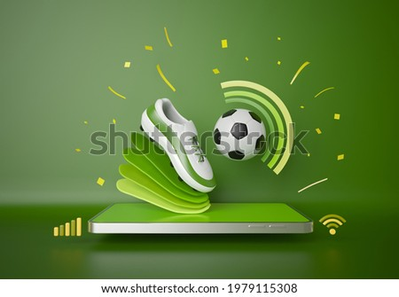 football live online from a smartphone. sport competition program. football balls object. football game appication. white screen mobile mock up. sport online game. background copy space. 3d rendering