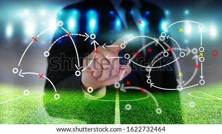 Football manager with soccer field and bright spotlights.  Foto stock ©
