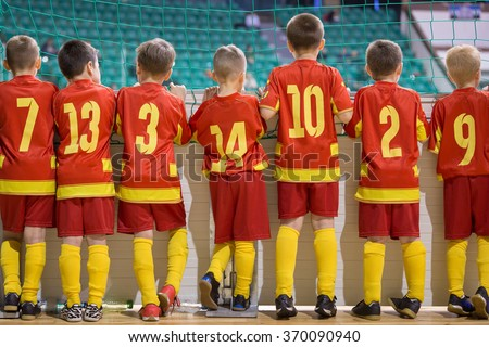 Football match for children. Training and football soccer tournament. Sports youth teams competition.