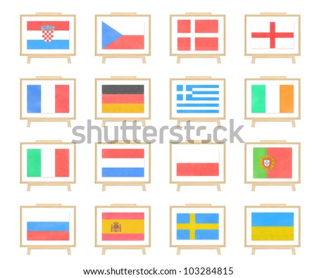 Football 2012 nations flag cork board on white isolate (clipping path)