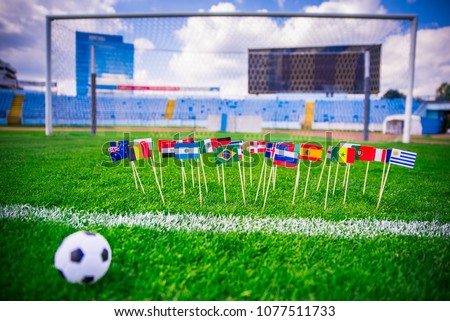 Football pitch, all world nations flags, blue sky, football net in background. Sport photo, edit space. #1077511733