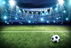 Football pitch and blue lights