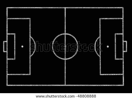 Football pitch on a blackboard