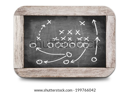 Football play strategy on a small chalk board  - stock photo