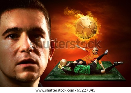 Football player and fire ball on the field